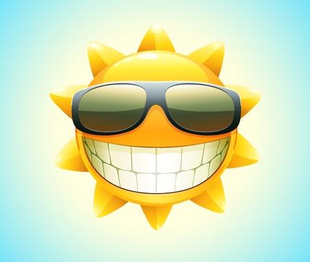 Vector illustration of cool cartoon happy summer sun in sunglasses