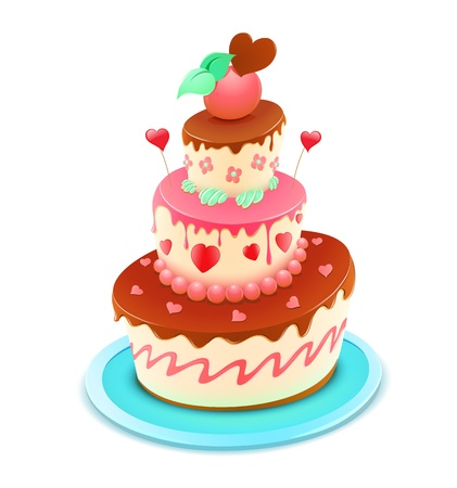 Illustration for Vector illustration of a romantic tiered cake decorated with flowers and funky hearts - Royalty Free Image