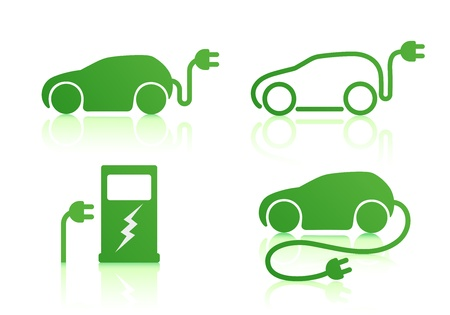 Foto de Vector illustration of electric powered car and charging point icons - Imagen libre de derechos