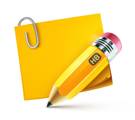 Illustration pour illustration of sharpened fat yellow pencil with postit pad  - image libre de droit