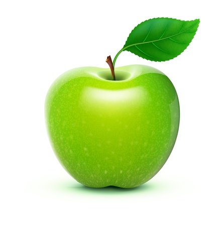 Illustration pour illustration of detailed big shiny green apple - image libre de droit