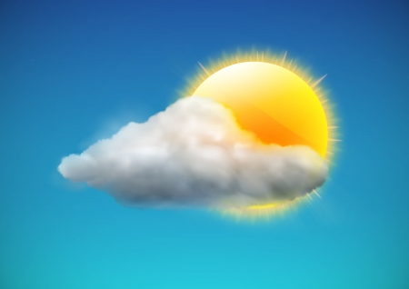 Illustration pour illustration of cool single weather icon - sun with cloud floats in the sky - image libre de droit