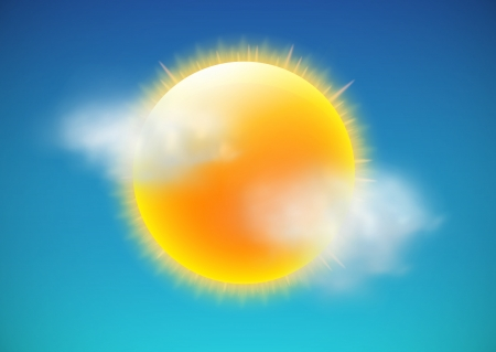 Illustration pour illustration of cool single weather icon-sun with few clouds floats in the sky - image libre de droit