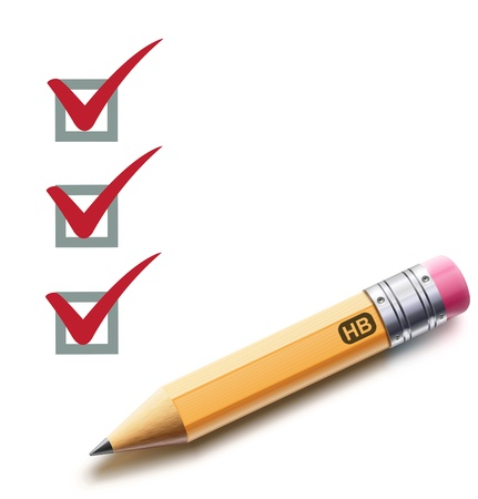 Photo pour Vector illustration of a checklist with a detailed pencil checking off tasks - image libre de droit