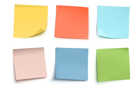 Illustration pour Vector illustration of multicolor post it notes isolated on white background. - image libre de droit
