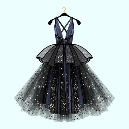 Photo pour Gorgeous party dress. Party dress with fancy decor.Fashion illustration - image libre de droit