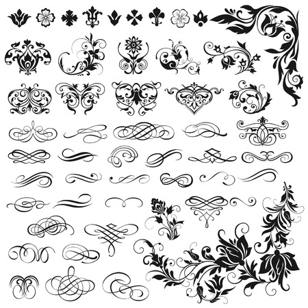 Illustration pour Vector set of calligraphic elements for design - image libre de droit