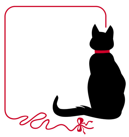 Illustration pour Black cat in red collar is sitting back to the audience - image libre de droit