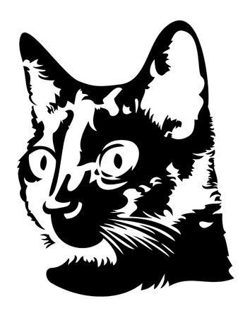 Ilustración de Black and white image of a head of a black cat with big eyes - Imagen libre de derechos