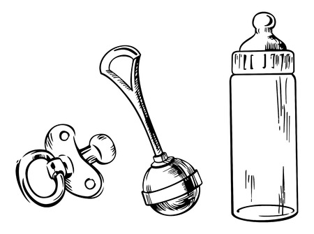 Illustration pour Outline image of baby bottle, soother and rattle isolated on a white background - image libre de droit