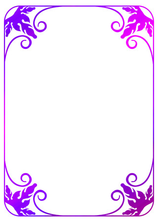 Photo pour Floral frame with gradient fill. Raster clip art outline drawing. - image libre de droit