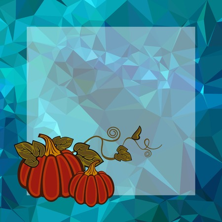 Illustration pour Mosaic backdrop with transparent empty square for text and pumpkin. Beautiful background for greetings cards, banners, layouts. Copy space. Vector clip art. - image libre de droit