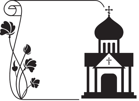 Illustrazione per Black and white floral frame with abstract christian temple. - Immagini Royalty Free