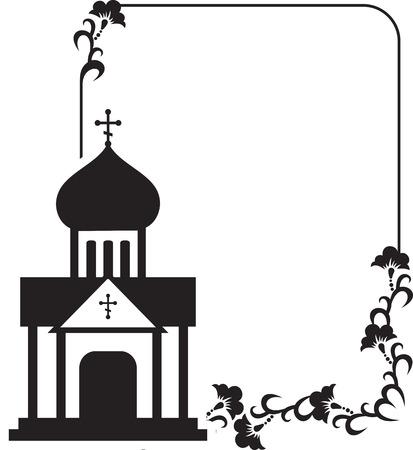 Ilustración de Black and white floral frame with abstract christian temple. - Imagen libre de derechos