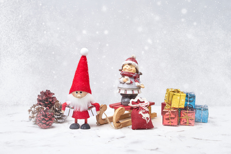 Photo for Christmas composition with Santa and small gifts. Copy space - Royalty Free Image