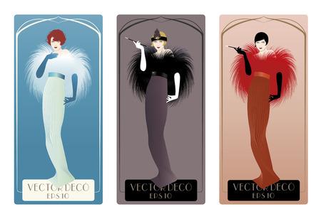 Ilustración de Three women elegant vintage style and art dec - Imagen libre de derechos