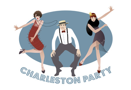 Illustration for Man and funny girls dancing charleston. 1920s style - Royalty Free Image