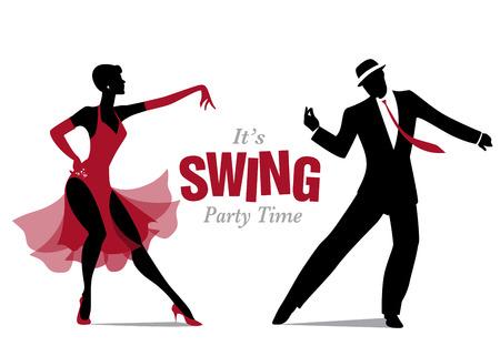 Ilustración de Elegant couple dancing silhouettes jazz or swing. - Imagen libre de derechos