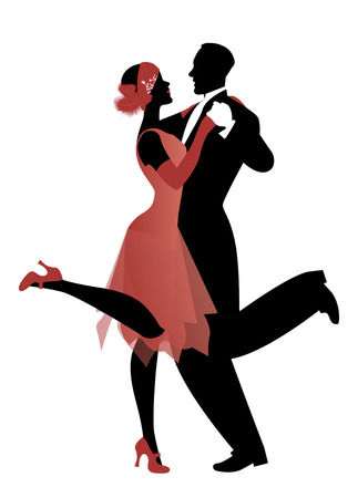 Illustration for Elegant couple wearing 20's style clothes dancing charleston. Vector Illustration - Royalty Free Image