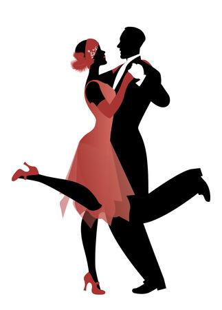 Illustration pour Elegant couple wearing 20's style clothes dancing charleston. Vector Illustration - image libre de droit