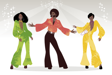 Illustration for Group of man and two girls dancing - Royalty Free Image