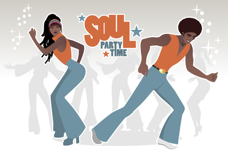 Illustration for Young couple dancing soul, funk or disco in Retro style. - Royalty Free Image