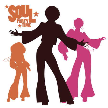 Illustration for Silhouettes of three people dancing - Royalty Free Image