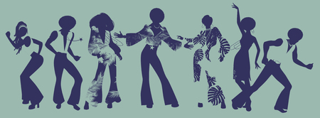 Illustration for Soul Party Time. Dancers of soul, funk or disco. - Royalty Free Image