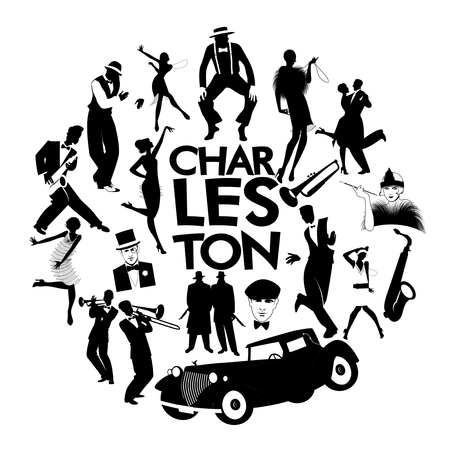 Illustration for Charleston dance icons. Cars, flapper girls, gangsters and Charleston dancers - Royalty Free Image