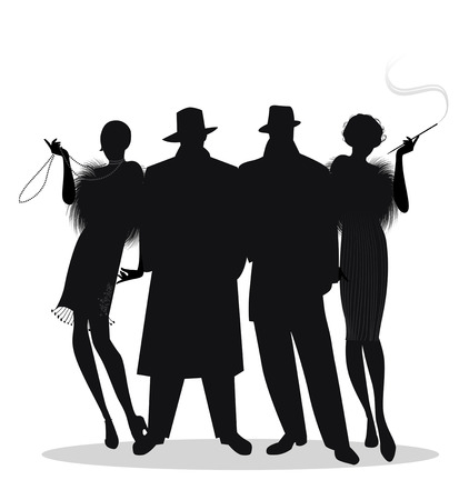 Illustration pour Silhouettes of two men and two flapper girls 20s style isolated on white background. Roaring twenties - image libre de droit