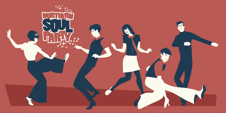 Illustration for Group of five young people wearing retro clothes, dancing Mod or Northern Soul style - Royalty Free Image