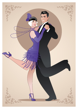 Ilustración de Couple wearing clothes in the style of the twenties dancing Charleston - Imagen libre de derechos
