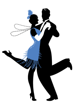 Ilustración de Silhouettes of couple wearing clothes in the style of the twenties dancing Charleston - Imagen libre de derechos