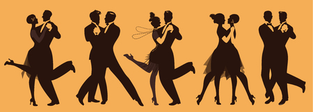 Illustration pour Silhouettes of five couples wearing clothes in the style of the twenties dancing retro music - image libre de droit