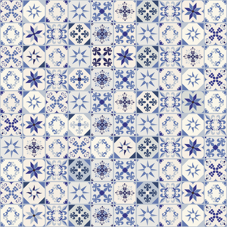 Illustration pour Seamless pattern of hydraulic tiles, typical of Spain, Italy and Portugal. Oriental style. - image libre de droit