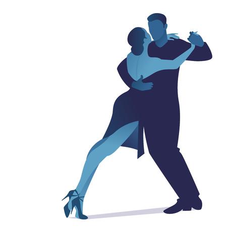 Illustration pour Couple dancing passionate argentine tango, isolated on white background - image libre de droit