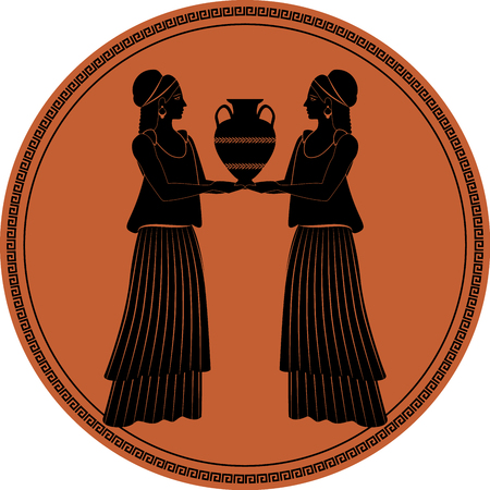 Illustration for Zodiac in the style of Ancient Greece, Gemini. Two girls wearing clothes and earrings in the style of ancient Greece carrying an amphora. Black figure inscribed in a circle surrounded by a fret. - Royalty Free Image