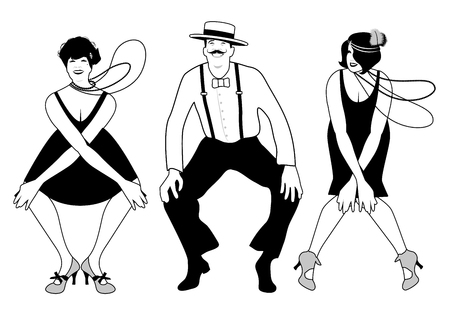 Illustration for Two flapper girls and one man dancing Charleston. Vector Illustration. - Royalty Free Image