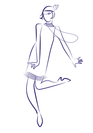 Illustration for Flapper girl wearing 1920s clothes and long necklaces dancing charleston. Ink line drawing on white background. - Royalty Free Image