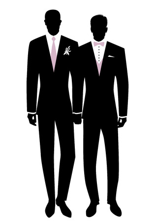 Illustrazione per Queer Wedding. Gay groom couple newlyweds silhouette. Couple of men wearing suits for groom, tie, bow tie and flowers on lapel. LGBTQ Rights - Immagini Royalty Free