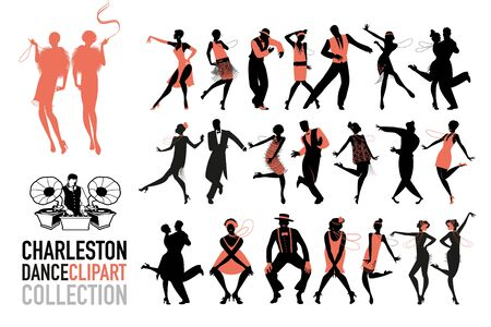 Illustration for Charleston dance clipart collection. Set of jazz dancers isolated on white background. - Royalty Free Image