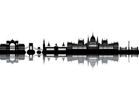 Photo for Budapest skyline - black and white vector illustration - Royalty Free Image