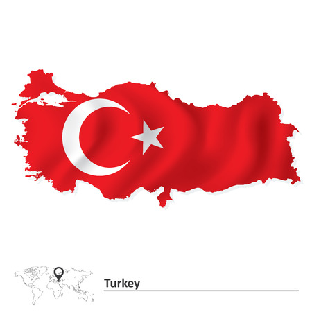 Illustration pour Map of Turkey with flag - vector illustration - image libre de droit