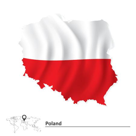 Illustration pour Map of Poland with flag - vector illustration - image libre de droit