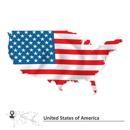 Illustration pour Map of United States of America with flag - vector illustration - image libre de droit