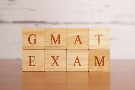 Photo for GMAT. Graduate Management Admission Test or exam in wooden block letters - Royalty Free Image
