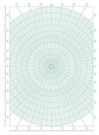 Foto de Vector green polar coordinate circular grid graph paper, graduated every 1 degree, numbered every 10 degrees in both directions - Imagen libre de derechos