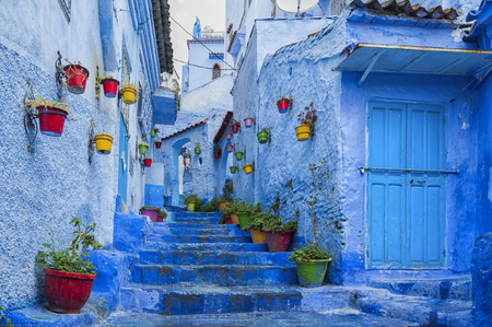 Photo pour The beautiful medina of Chefchaouen, the blue pearl of Morocco - image libre de droit