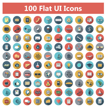Illustration for Set of modern icons in flat design with long shadows and trendy colors for web, banners, covers, corporate brochures, logos, mobile applications, business, social networks etc. Vector eps10 illustration - Royalty Free Image