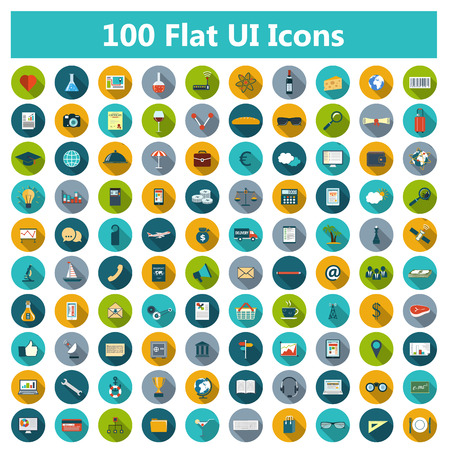 Illustration pour Set of modern icons in flat design with long shadows and trendy colors for web, banners, covers, corporate brochures, logos, mobile applications, business, social networks etc. Vector eps10 illustration - image libre de droit